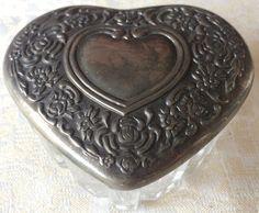 Vintage Silver Embossed Lid Glass Jewelry /Trinket Box (8146), Made in Japan