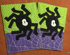 Quilted Embroidered Halloween Spider Mug Rug