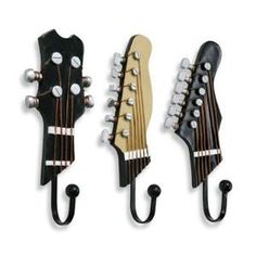 www.RockTheFOut.com Guitar neck hanger, hook, rock n roll, heavy metal, punk rock, emo, band, jam, musician, music room. by Paul Dobbins