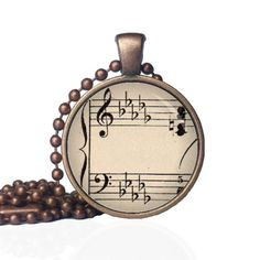 Bass Clef Necklace - Music Notes Necklace - Musical Jewelry - Musical Notes Jewelry - Treble Clef - Vintage Inspired Antique Sheet Music by KingFamilyCreations