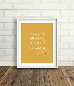 Print and frame a short list of meaningful dates like birthdays, anniversaries or the first time you met.