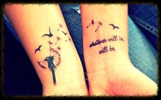 Dandelion tattoo with words of wisdom quote.
