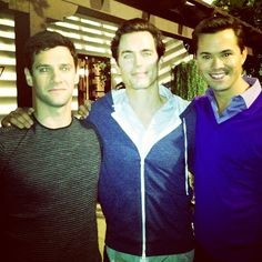 Justin Bartha, Matt Bomer, and Andrew Rannells on the set of The #NewNormal