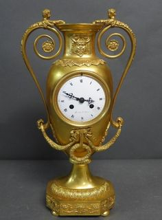 Dore over Bronze Empire Style Urn Form Clock