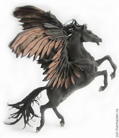 Black Pegasus Horse Skulpture Figurine Art Fantasy Animals Totem Amulet Handmade item Materials: clay, velvet clay, acrylic