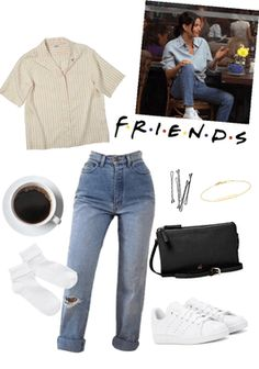 Monica Geller Outift #4  #monicageller #monica #90s #friends #friendstvshow #grunge #adidas #coffee #tumblr #momjeans #cute #pretty #effortless #anaiese Monica Friends, Rachel Friends, Friends Tv Show, 90s Inspired Outfits, Themed Outfits, Grunge Outfits, Retro Outfits, Jean Outfits, Skirt Outfits