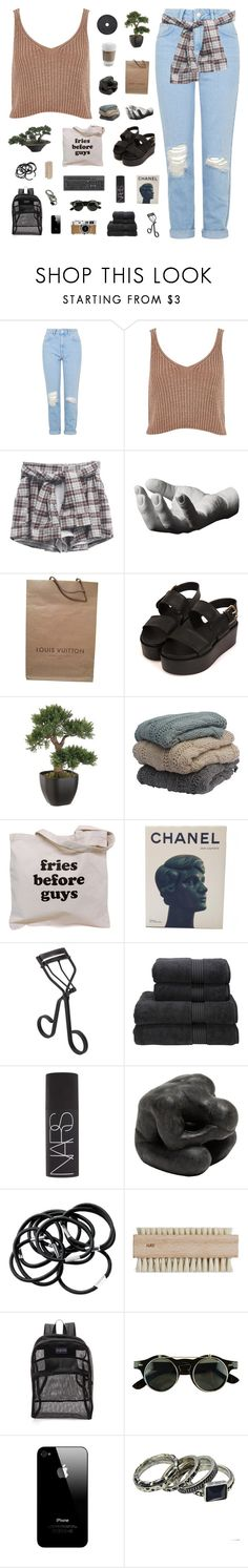 """""""Hey Angel"""" by cbear99 ❤ liked on Polyvore featuring Topshop, River Island, Areaware, Louis Vuitton, Chanel, Surratt, Christy, NARS Cosmetics, Oly and H&M"""