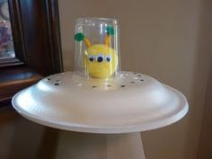 Another UFO craft - using the pompom alien with thick paper plates