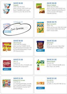 Free Grocery Coupons: YOPLAIT, NATURE VALLEY, COOL WHIP, BALL PARK, BIG G CEREALS, JELLO http://freeprintableshoppingcoupons.com