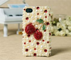 FREE SHIPPING Apple iPhone 3GS 3G Pearl Red Cherry Crystals Back Protective Skin Case Cover. $39.99, via Etsy.