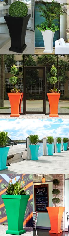 Love these bright patio planters! Lawn And Garden, Home And Garden, Vase Deco, Pergola, Patio Planters, My Pool, Outdoor Living, Outdoor Decor, Outdoor Projects