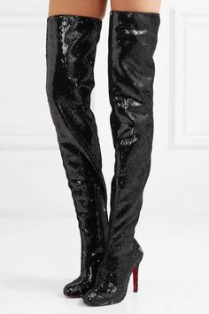 d8930f8cd57 Christian Louboutin - Louise 100 sequined leather over-the-knee boots