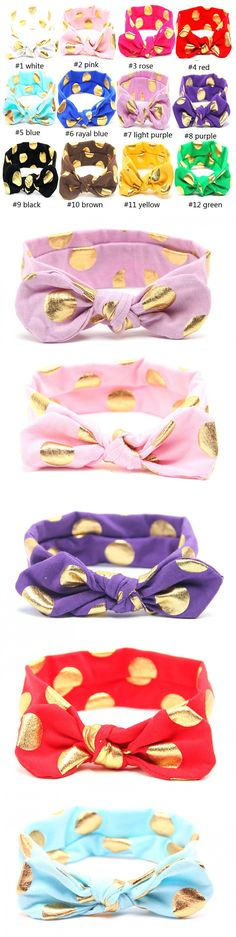 20pcs/lot Gold Dot Baby Headband Knotted Bow Baby Head Wraps Jersey Knit Kids Head Wraps Top Knot Headband