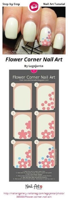 Flower Corner Nail Art by Legojenta - Nail Art Gallery Step-by-Step Tutorials by Nails… Trendy Nail Art, Nail Art Diy, Easy Nail Art, Cool Nail Art, Nail Art Dessin, Diy Nails Tutorial, Nagellack Design, Flower Nail Art, Art Flowers