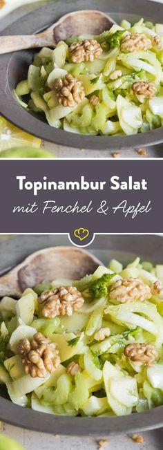 Ein frischer Salat für kalte Tage - Fenchel und Apfel ergänzen die süße Note des Topinambur, Walnüsse runden das Ganze mit einem Crunch ab.