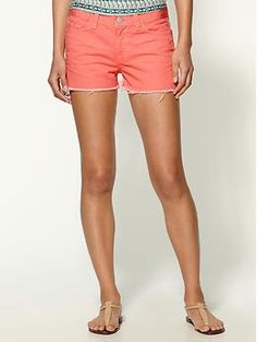 Coral cutoff shorts.  want to be able to wear these by summer