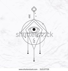 Abstract vector mystic geometric sign with geometric shapes, triangle, chevron, arrow, circles, dots, eye. Geometric symbol drawn in lines. Vector illustration. Simple, elegant, modern linear tattoo - stock vector