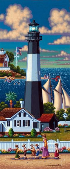 Tybee Island Lighthouse by Eric Dowdle - Tybee Island, Georgia Tybee Island Lighthouse, Lighthouse Pictures, Lighthouse Painting, Illustration Art, Illustrations, Beacon Of Light, Naive Art, Clipart, Folk Art