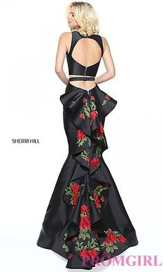 Black Two Piece Prom Dress with Embroidered Train at PromGirl.com