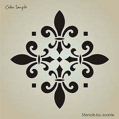 "large fleur de lis stencils | Stencil Diamond Fleur de Lis 10"" Tile Design Wall Art Cottage Chic ..."