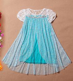 Elsa inspired short sleeve dress, frozen dress, frozen elsa dress, birthday dress, halloween dress, photo prop dress on Etsy, $29.99