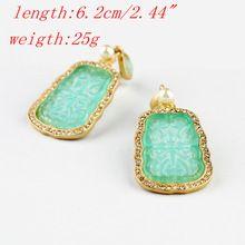 Envío gratis Boho del estilo pendientes con diseñador verde pendientes para para JP091620(China (Mainland))