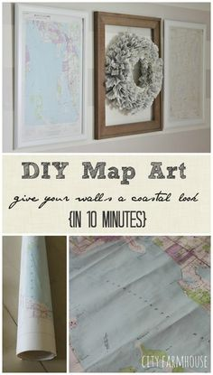 DIY Map Art-give your walls a coastal look in 10 minutes {City Farmhouse}