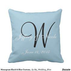 Monogram Black & Blue Custom Personalize Wedding