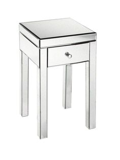 "Slightly more petite, but you can pick up a pair for less than 200 bucks! Threshold 13 3/4""W x 13 3/4""D x 25 1/4""H mirrored glass table, $90, target.com"