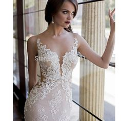 ==> [Free Shipping] Buy Best 2017 Lace Wedding Dresses with Detachable Skirt Mermaid Wedding Gowns Backless Plunging Neckline Sexy New Arrival Bridal Gowns Online with LOWEST Price | 32787701588