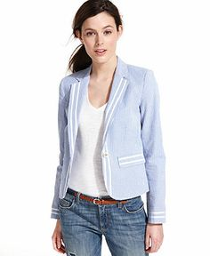 Designer Clothes, Shoes & Bags for Women Blazer Jackets For Women, Blazers For Women, Seersucker Blazer, Summer Outfits, Casual Outfits, Modest Fashion, Women's Fashion, Tommy Hilfiger, Clothes For Women