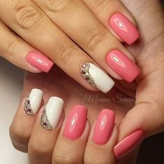 Studded Spring Nail Art Design. Simple yet attractive, this pink and white nail art with the diagonal studs arranged is another worth trying design for spring.