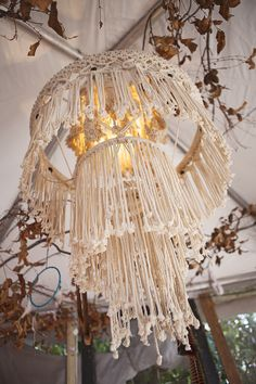 Macrame hanging table TURNED into a chandelier using a light cord!