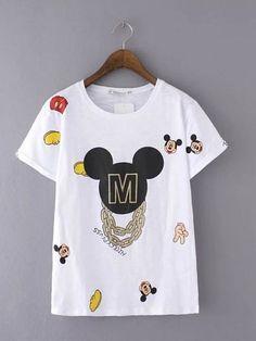 Camiseta Feminina Mickey Mouse com Correntes - Compre Online