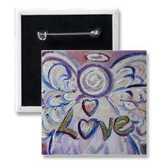 Love Angel Word Art Button Pendant Pin