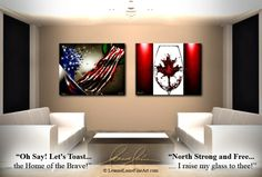 "USA: ""Oh Say Let's Toast The Home of the Brave""  CANADA: ""North Strong & Free, I Raise My Glass To Thee!"" by wine artist © Leanne Laine Fine Art #wineart #winepainting"