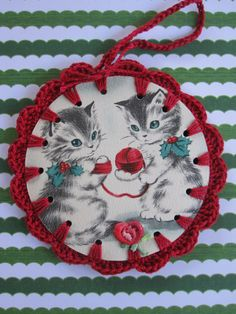 Recycled Christmas Greeting Card  Crochet Kitty Cat by ShoeFlower
