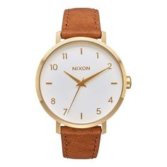Nixon Arrow Leather gold/white/saddle $150