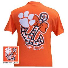 New South Carolina Clemson Tigers Anchor Bow Girlie Bright T Shirt | SimplyCuteTees