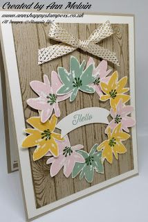 Ann's Happy Stampers: Spring Wreath card using Free Avant Garden stamp s...