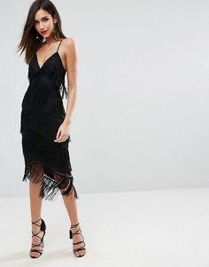 ASOS | ASOS Fringe Mesh Strappy Midi Bodycon Dress