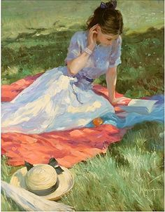 Vladimir Volegov - a woman reading in the shade of a tree