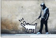 Banksy with a Keith Haring dog (May 1958 – February was an artist and social activist whose work responded to the New York City street culture of the KH gone to soon graffiti in the nycity streets Banksy Graffiti, Street Art Banksy, Arte Banksy, Graffiti Words, Banksy Canvas, Graffiti Artwork, Bansky, Banksy Prints, Graffiti Painting