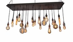 Edison Bulb Moment- Industrial Chandelier, Rustic Chandelier, Ceiling Light Fixture, Modern Lighting, Urban Lighting by IndustrialLightworks on Etsy https://www.etsy.com/listing/180112934/edison-bulb-moment-industrial-chandelier