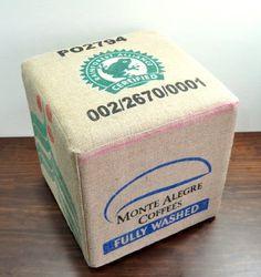 Rainforest Alliance  Coffee Sack Ottoman by VelvetBean on Etsy, $190.00