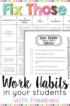 Those Students' Work Habits! Help fix your students' work habits with these ideas and tips, along with freebies to help your classroom management with this important student behavior!Those Those may refer to: It Management, Behavior Management, Classroom Management, 5th Grade Classroom, School Classroom, Classroom Ideas, Future Classroom, Classroom Rules, Calm Classroom
