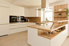 küche weiß mit holzarbeitsplatte - Google-Suche