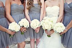 Gray bridesmaid dresses & white bouquets