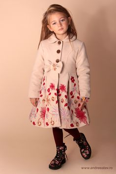 Paltonas fete Girls Beige Embroidery Coat & Hat Set Paltonas cu broderie și pălărie- Set Product Page, Jackets, Fashion, Embroidery, Down Jackets, Moda, Fashion Styles, Jacket, Fasion