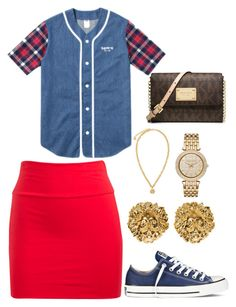 """""""Going to church"""" by kala-bhaybee ❤ liked on Polyvore featuring Wet Seal, Converse, Versus, Versace, Michael Kors and MICHAEL Michael Kors"""